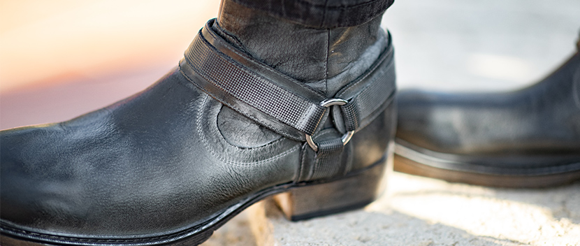 ROAN Footwear leather strapped boot, Colton ii in Dark grey.