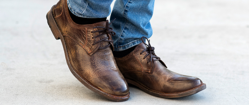 Close up of brown distressed leather simple plain toe oxford Mens Rebel shoes